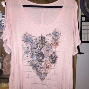 Jessica Simpson Pastel Pink Cold Shoulder Top